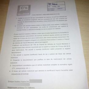 C's Vallirana presenta una alegación a las Ordenanzas Fiscales