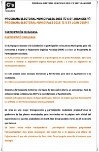 PROGRAMA ELECTORAL C's SJD MUNICIPALES 2015